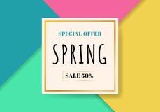 Fundo colorido bonito da venda da mola do molde Oferta especial Você pode usar-se para o papel de parede insetos, convite, cartaz ilustração royalty free