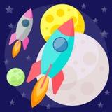 Fundo colorido brilhante do espaço de vetor com planetas coloridos e Imagens de Stock Royalty Free