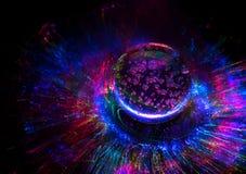 Fundo colorido cômico das luzes com galáxia e planeta imagens de stock royalty free