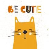 Fundo colorido com gato feliz e texto inglês Seja bonito ilustração stock