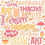 Fundo colorido com rotulação da motivação e gato bonito, copo de café, plantas e setas ilustração royalty free