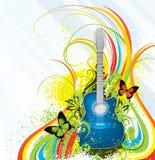 Fundo colorido da guitarra ilustração stock