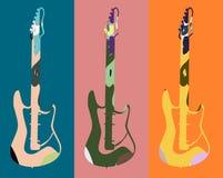 Fundo colorido da música com guitarra Foto de Stock Royalty Free