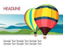 Fundo colorido da montanha dos balões de ar quente Imagens de Stock Royalty Free
