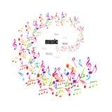 Fundo colorido da música com clefs Fotos de Stock Royalty Free