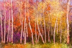 Fundo colorido da paisagem do outono da pintura a óleo imagens de stock royalty free