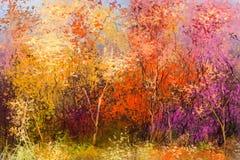 Fundo colorido da paisagem do outono da pintura a óleo ilustração royalty free