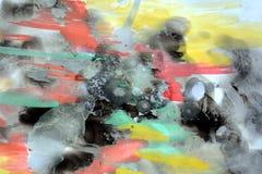 Fundo colorido da pintura da aquarela e cera azul Imagem de Stock