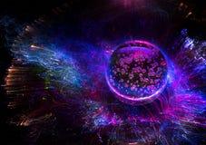 Fundo colorido das luzes com galáxia e planeta imagens de stock royalty free