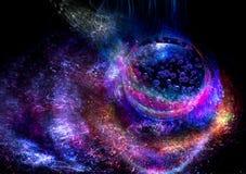 Fundo colorido das luzes com galáxia e planeta fotografia de stock royalty free