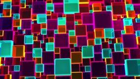 Fundo colorido de néon dos cubos das luzes em 4k vídeos de arquivo
