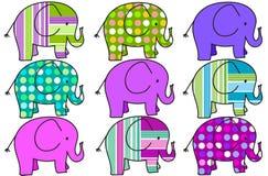 Fundo colorido de nove elefantes Imagem de Stock Royalty Free