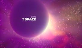 Fundo colorido do espaço de vetor Contexto abstrato da nebulosa Sun e incandescência da estrela ilustração do vetor