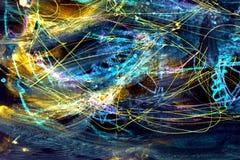 Fundo colorido do espa?o Os cursos da pintura linhas azuis e pontos no papel ilustração do vetor