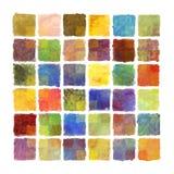 Fundo colorido do quadrado da pintura no papel da aquarela Fotografia de Stock Royalty Free