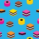 Fundo colorido do teste padrão da repetição dos doces do teste padrão sem emenda inglês do alcaçuz para o projeto de matéria têxt ilustração do vetor