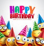 Fundo colorido do vetor do cartão do feliz aniversario do smiley Foto de Stock Royalty Free