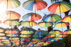 Fundo colorido dos guarda-chuvas guarda-chuvas Multi-coloridos na SK Fotos de Stock