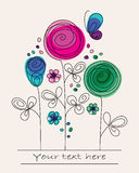 Fundo colorido engraçado com flores abstratas ilustração stock