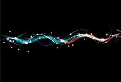 Fundo colorido obscuro da onda do efeito da luz Fotos de Stock