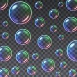 Fundo colorido transparente das bolhas de sabão ilustração stock