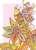 Fundo colorido uma flor e uma abelha Imagem de Stock Royalty Free
