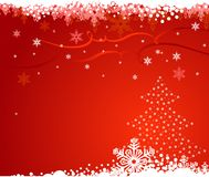 Fundo com árvore de Natal e flocos de neve/VE ilustração stock