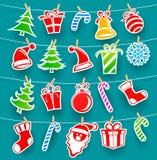 Fundo com ícones do Natal Fotos de Stock Royalty Free