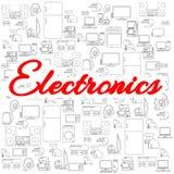 Fundo com ícones dos aparelhos eletrodomésticos Vários ícones do vetor da eletrônica Fotos de Stock Royalty Free