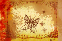 Fundo com as borboletas desenhadas ilustração royalty free