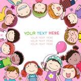 Fundo com as crianças bonitos dos desenhos animados ilustração stock