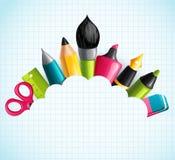Fundo com as ferramentas do desenho e da escrita Fotos de Stock Royalty Free