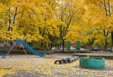 Fundo com as folhas de outono amarelas Imagem de Stock