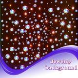 Fundo com as pedras preciosas brilhantes e lugar para o texto Fotografia de Stock