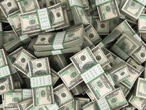Fundo com as pilhas das notas de dólar do americano cem do dinheiro Fotos de Stock Royalty Free