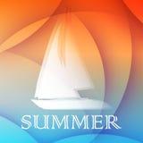 Fundo com barco, projeto liso do verão ilustração do vetor