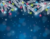 Fundo com a bola do galho e do Natal do pinho, VE Fotografia de Stock Royalty Free