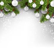 Fundo com bolas do White Christmas Imagens de Stock