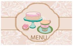 Fundo com bolos, copo do MI do bolo do chá sobre Imagem de Stock Royalty Free