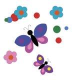 Fundo com borboletas dos desenhos animados Imagens de Stock