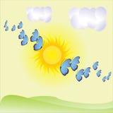 Fundo com borboletas e nuvens Imagens de Stock