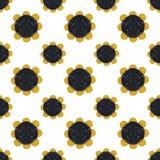 Fundo com círculos do brilho dourado e preto, teste padrão sem emenda Imagem de Stock