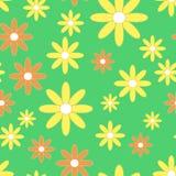 Fundo com camomiles simples amarelos e alaranjados no fundo verde Imagens de Stock Royalty Free
