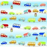 Fundo com carros dos desenhos animados Foto de Stock