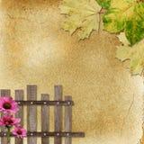 Fundo com cerca e flores Imagens de Stock