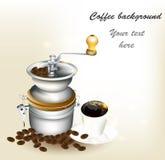 Fundo com chávena de café, grões Fotos de Stock
