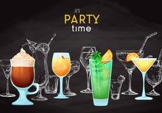 Fundo com cocktail diferentes Giz de desenho em um quadro-negro Subtítulo: é tempo do partido Coloque em seu texto Vetor fotografia de stock