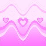 Fundo com coração e a onda cor-de-rosa Fotografia de Stock