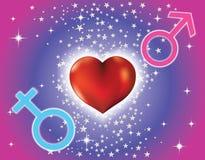 Fundo com coração e sinais dos homens e Imagens de Stock