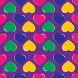 Fundo com corações coloridos no fundo roxo Imagens de Stock